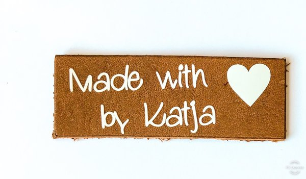 5 Lederlabels Made with Love by... aus echtem Leder